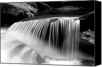 Gatlinburg Canvas Prints - Falling Water Black and White Canvas Print by Rich Franco