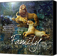 Lion Digital Art Canvas Prints - Family Canvas Print by Evie Cook