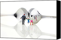 Miniature Effect Canvas Prints - Family in front of spoon distoring mirrors II Canvas Print by Mingqi Ge