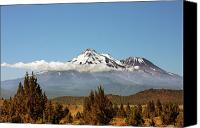 Snow Capped Canvas Prints - Family Portrait - Mount Shasta and Shastina Northern California Canvas Print by Christine Till