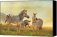 Animal Mixed Media Canvas Prints - Family Ties Canvas Print by Trudi Simmonds