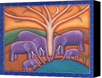 Elephants Canvas Prints - Family Tree Canvas Print by Mary Anne Nagy