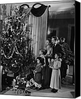 Father Christmas Canvas Prints - Family With Three Children (4-9) Standing At Christmas Tree, (b&w) Canvas Print by George Marks