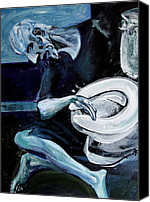 Picasso Painting Canvas Prints - Famous Picasso Bathroom Art Old Man with Commode Canvas Print by J Vincent Scarpace