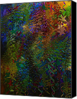 Corel Painter Canvas Prints - Fanciful Ferns Canvas Print by Christine Crawford