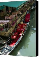 European Union Canvas Prints - Fancy Gondola Parked In A Canal Next Canvas Print by Todd Gipstein