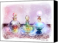 Bottles Canvas Prints - Fancy Perfume Bottles Canvas Print by Arline Wagner