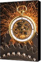 Minutes Photo Canvas Prints - Fancy Pocketwatch On Gears Canvas Print by Garry Gay