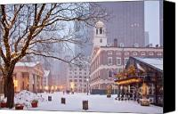 Tourist Attraction Canvas Prints - Faneuil Hall in Snow Canvas Print by Susan Cole Kelly