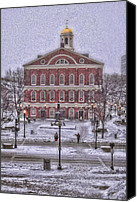 Christmas Cards Canvas Prints - Faneuil Hall Snow Canvas Print by Joann Vitali