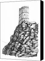 Ruin Drawings Canvas Prints - Fanja Revisited Canvas Print by Sue Pownall