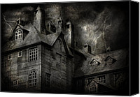 Haunted House Canvas Prints - Fantasy - Haunted - It was a dark and stormy night Canvas Print by Mike Savad