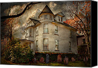 Fall Scenes Canvas Prints - Fantasy - Haunted - The Caretakers House Canvas Print by Mike Savad