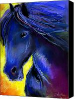 Animal Pastels Canvas Prints - Fantasy Friesian Horse painting print Canvas Print by Svetlana Novikova