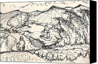 Freehand Drawing Canvas Prints - Fantasy Landscape Canvas Print by Dean Gleisberg