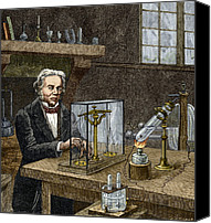 1833 Canvas Prints - Faradays Electrolysis Experiment, 1833 Canvas Print by Sheila Terry