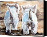 Westies Canvas Prints - Farewell Canvas Print by Mary Sparrow Smith