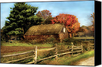 Old Cabins Canvas Prints - Farm - Barn - Our Cabin Canvas Print by Mike Savad
