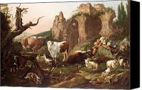 Ruin Painting Canvas Prints - Farm animals in a landscape Canvas Print by Johann Heinrich Roos