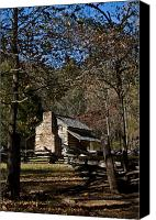 Cabin Canvas Prints - Farm Cabin Cades Cove Tennessee Canvas Print by Douglas Barnett