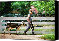 Calf Canvas Prints - Farm - Cow -The farmer and the dell  Canvas Print by Mike Savad