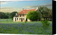 Bluebonnets Canvas Prints - Farm House in Blue Canvas Print by Robert Anschutz