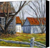 Prankearts Canvas Prints - Farm in Berthierville Canvas Print by Richard T Pranke