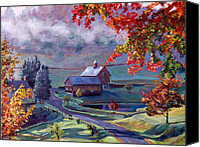 Impressionism Canvas Prints - Farm In The Dell Canvas Print by David Lloyd Glover
