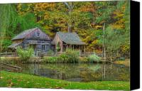 Log Cabin Photo Canvas Prints - Farm in Woods Canvas Print by William Jobes