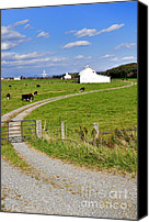 White Barn Canvas Prints - Farm near  National Radio Astronomy Observatory  Canvas Print by Thomas R Fletcher