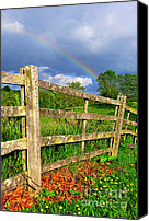 Stormy Canvas Prints - Farm Rainbow Canvas Print by Thomas R Fletcher