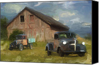 Barn Digital Art Canvas Prints - Farm Scene Canvas Print by Jack Zulli
