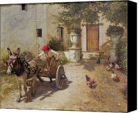 Rooster Canvas Prints - Farm Yard Scene Canvas Print by Henry Herbert La Thangue