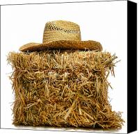 Feed Canvas Prints - Farmer Hat on Hay Bale Canvas Print by Olivier Le Queinec