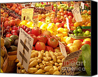 Fruit Markets Canvas Prints - Farmers Market Canvas Print by Karen Wiles