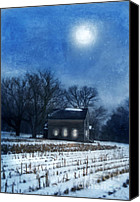 Snowy Night Canvas Prints - Farmhouse Under Full Moon in Winter Canvas Print by Jill Battaglia