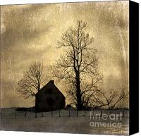 Farm Houses Canvas Prints - Farmhouse. vintage-look Auvergne. France Canvas Print by Bernard Jaubert