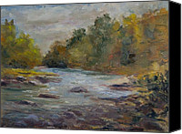 Farmington River Painting Canvas Prints - Farmington River September Canvas Print by Edward White