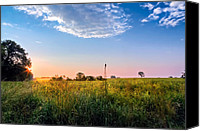 Country Scenes Canvas Prints - Farmland Sunrise Canvas Print by Bill  Wakeley