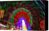 Lights Framed Prints Canvas Prints - Farris Wheel Crazy Light Abstract Canvas Print by James Bo Insogna