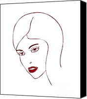 Modern Drawings Canvas Prints - Fashion Model Canvas Print by Frank Tschakert