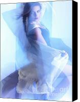 Light Suit Photo Canvas Prints - Fashion Photo of a Woman in Shining Blue Settings Canvas Print by Oleksiy Maksymenko