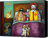 Kinky Canvas Prints - Fast Food Nightmare 2 different tones Canvas Print by Leah Saulnier The Painting Maniac