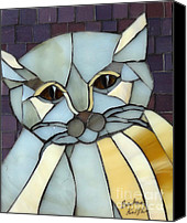 Cat Glass Art Canvas Prints - Fat Cat Canvas Print by Barbara Benson Keith