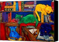 Library Painting Canvas Prints - Fat Cats In the Library Canvas Print by Patti Schermerhorn