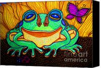 Frog Art Canvas Prints - Fat Green Frog on a Sunflower Canvas Print by Nick Gustafson