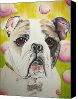 Bull Pastels Canvas Prints - Fat Rose Canvas Print by Michelle Hayden-Marsan