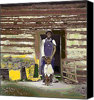 Log Cabin Mixed Media Canvas Prints - Father and His Son Canvas Print by Charles Shoup