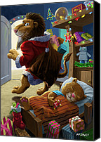 Martin Davey Digital Art Canvas Prints - Father Christmas lion delivering presents Canvas Print by Martin Davey