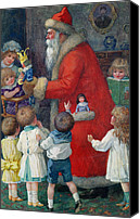 Santa Claus Canvas Prints - Father Christmas with Children Canvas Print by Karl Roger